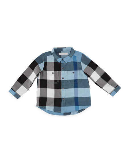 Burberry Mini Camber Check Shirt, Blue, Size 6M-3