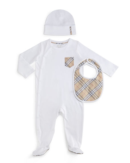 Burberry Jaydin 3-Piece Footie Pajama Set, White, Size