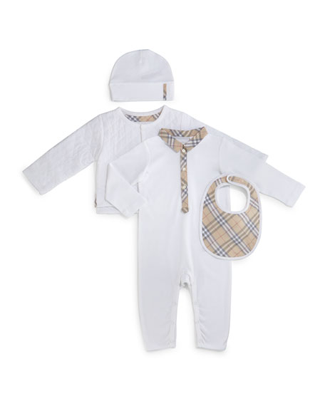Burberry Zayden 4-Piece Coverall Set, White, Size 1-24
