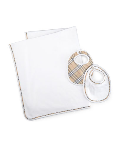 Cotton Baby Blanket & Bib Set, White