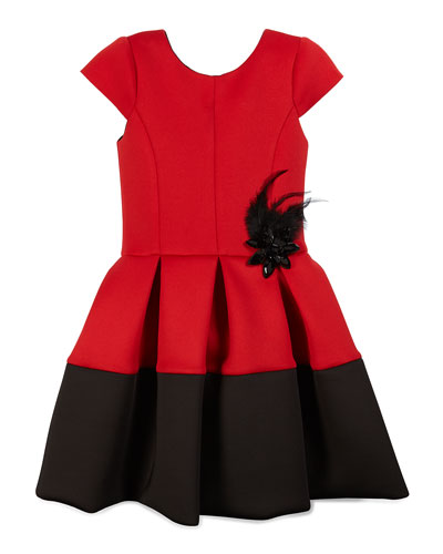 Pleated Cap-Sleeve Scuba Dress, Red/Black, Size 4-6