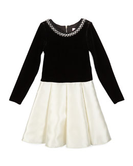 Long-Sleeve Velvet & Sateen Dress, Black/Cream, Size 4-6