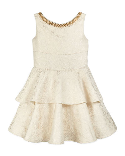 Sleeveless Tiered Brocade Dress, Gold, Size 7-14