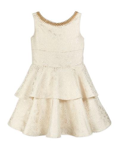 Sleeveless Tiered Brocade Dress, Gold, Size 7-14