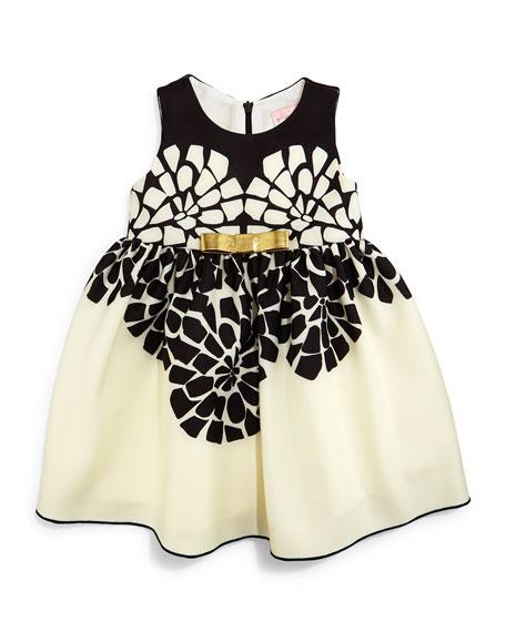 Zoe Sleeveless Geo-Floral Party Dress, Black/Cream, Size 12-24 Months