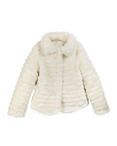 faux-fur coat w/ bow, cream, size s-xl