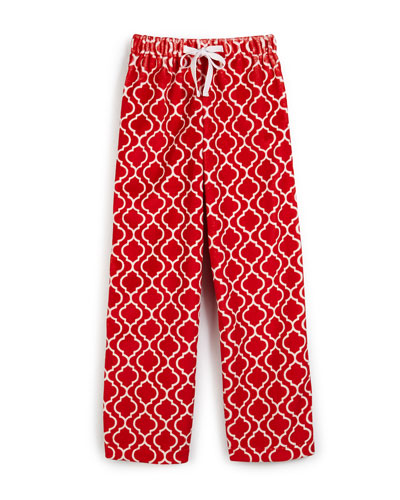 Boys' Quatrefoil Plush Pajamas, Red, Size 2-7