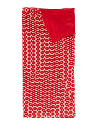 Kids' Plush Quatrefoil Sleeping Bag, Red