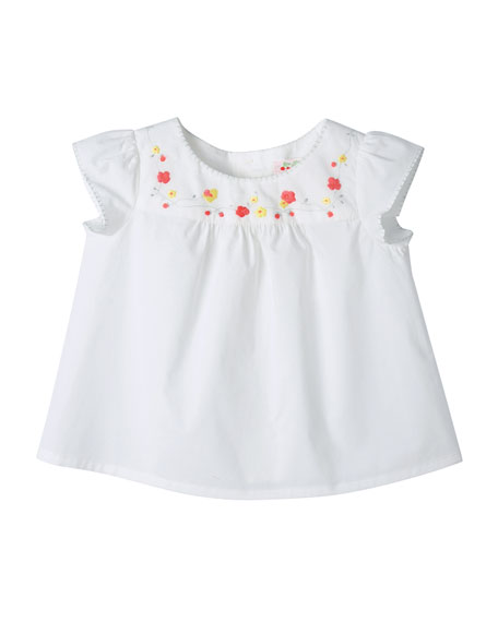 Bonpoint Embroidered Cotton Blouse, Milky White, Size 18M-2