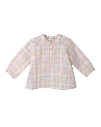 Plaid Cotton Shirt, Blue/Coral, Size 18M-2