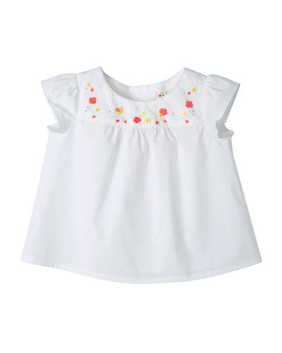 Embroidered Cotton Blouse, Milky White, Size 6-12 Months