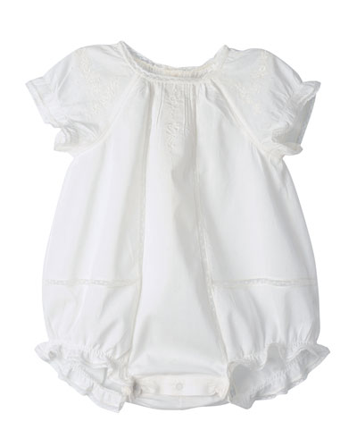 Embroidered Cotton Bubble Playsuit, Milky White, Size 9-12 Months