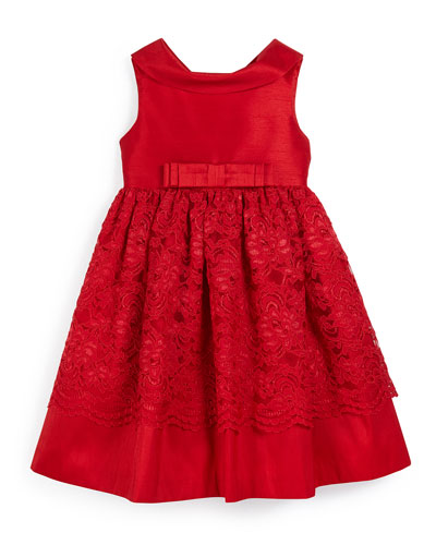 Sleeveless Collared Lace-Trim Party Dress, Red, Size 3-10