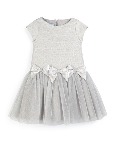 Cap-Sleeve Jacquard & Tulle Dress, Gray, Size 3-6