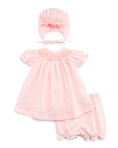 Viella Bishop Twill Dress, Bloomers & Bonnet, Pink, Size 3-9 Months
