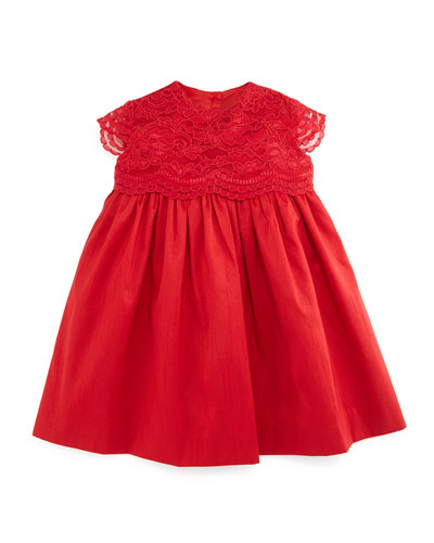 Sleeveless Lace-Trim A-Line Dress, Red, Size 12-24 Months