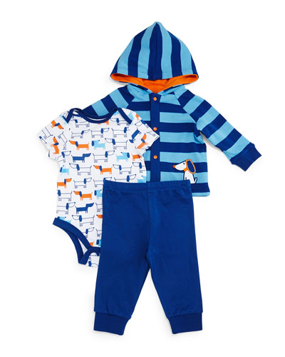 Puppy Pima Striped Jacket, Playsuit & Pants, Blue, Size 3-24 Months