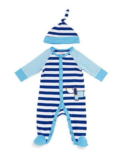 Striped Pima Footie Pajamas & Baby Hat, Blue, Size 3-9 Months