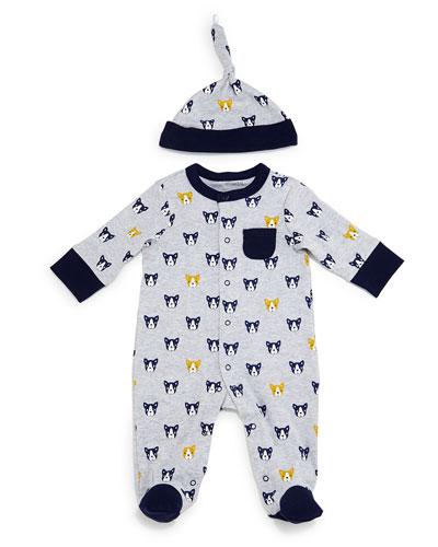Bulldog-Print Pima Footie Pajamas, Gray, Size 3-9 Months