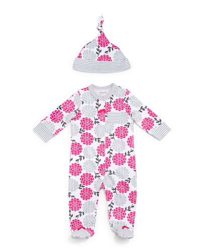 Floral Pima Footie Pajamas & Baby Hat, Pink/Gray, Size 3-9 Months