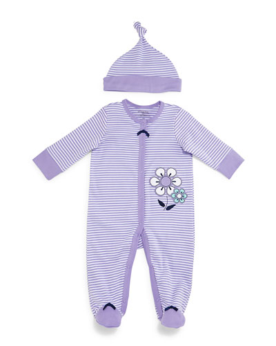 Striped Pima Footie Pajamas & Baby Hat, Purple, Size 3-9 Months