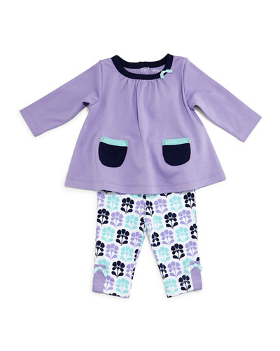 Long-Sleeve Tunic & Floral Leggings, Violet, Size 3-24 Months
