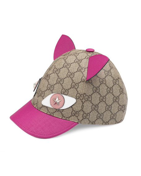 Gucci GG Supreme Cat Baseball Cap, Beige
