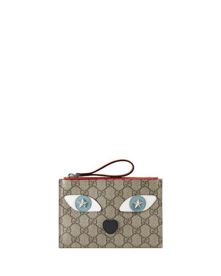 Gucci Girls' GG Supreme Leather-Trim Cat Wristlet, Beige/Orange