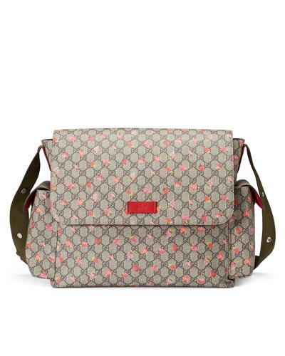 Strawberry-Print GG Canvas Diaper Bag, Beige/Multicolor