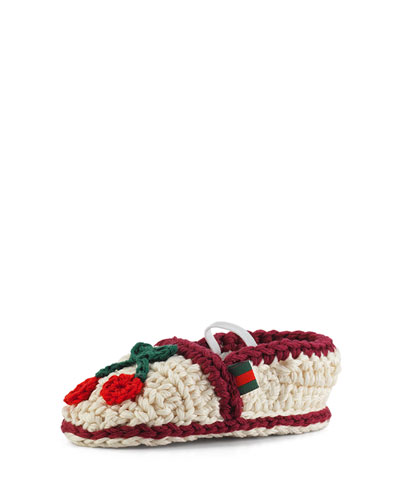 Crochet Cherry Slipper, Mystic White, Infant