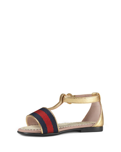 Metallic Leather Web-Trim Sandal, Gold, Toddler