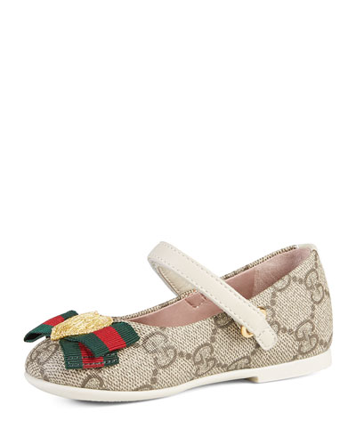 GG Supreme Heart Mary Jane Flat, Beige, Toddler