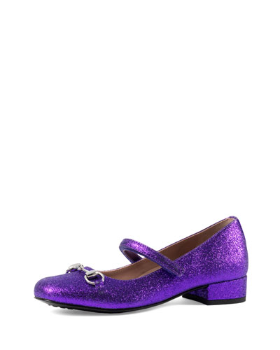 Glittered Leather Mary Jane, Purple, Youth