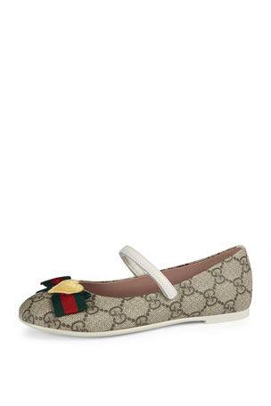 Gucci GG Supreme Web-Trim Mary Jane, Toddler/Youth Sizes 10T-2Y