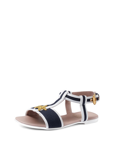 Grosgrain Embroidered Sandal, Great White/Blue, Youth