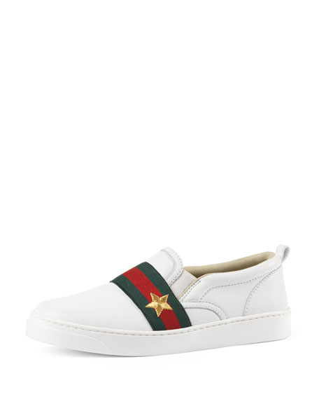 Gucci Leather Slip-On Skate Shoe, White, Youth