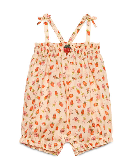 Gucci Sleeveless Cotton Strawberry-Print Romper, Pale Pink, Size