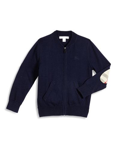 Jaxson Zip-Front Cotton Cardigan, Navy, Size 4-14