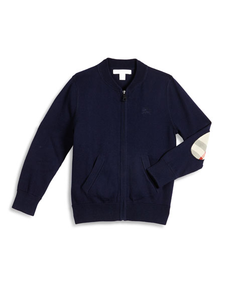 Burberry Jaxson Zip-Front Cotton Cardigan, Navy, Size 4-14