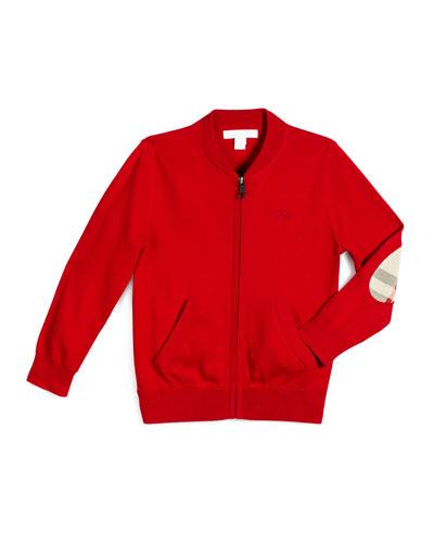 Jaxson Zip-Front Cotton Cardigan, Red, Size 4-14