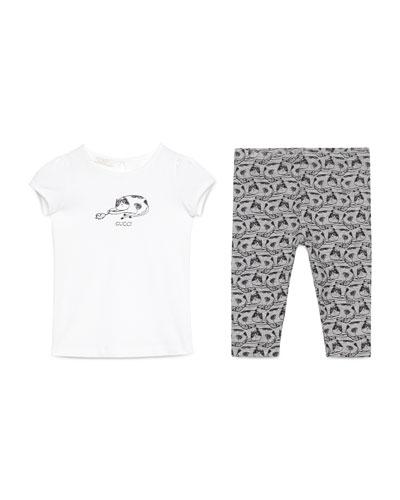 Cap-Sleeve Cat Jersey Tee w/ Printed Leggings, White//Gray/Black, Size 9-36 Months