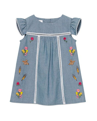 Floral-Embroidered Chambray Shift Dress, Denim, Size 12-36 Months