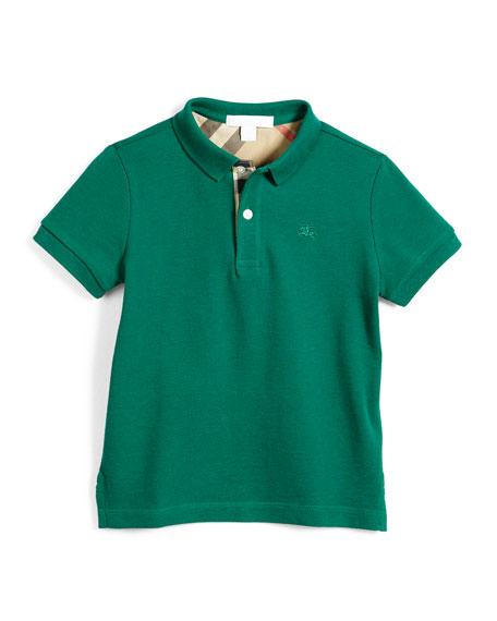 Burberry Short-Sleeve Pique Polo Shirt, Bright Green, Size