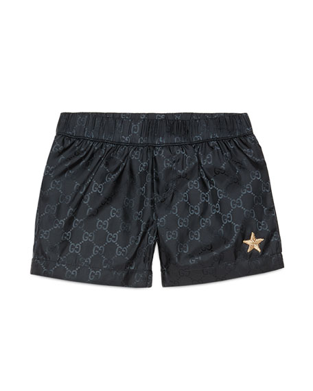Gucci GG-Print Swim Trunks, Navy, Size 9-36 Months