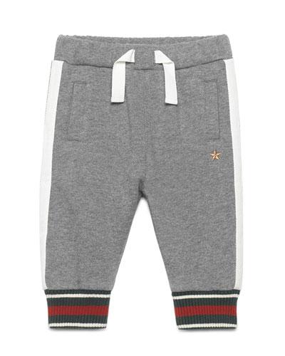 Web-Trim Cotton-Blend Track Pants, Gray, Size 6-36 Months