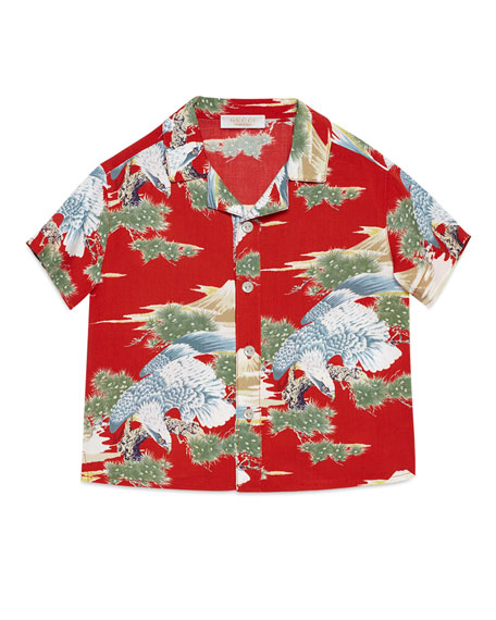 Gucci Short-Sleeve Woven Eagle-Print Shirt, Red, Size 12-36