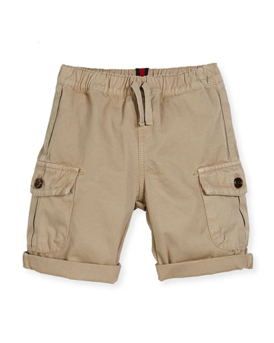 Cotton Drawstring Cargo Shorts, Oatmeal, Size 12-36 Months