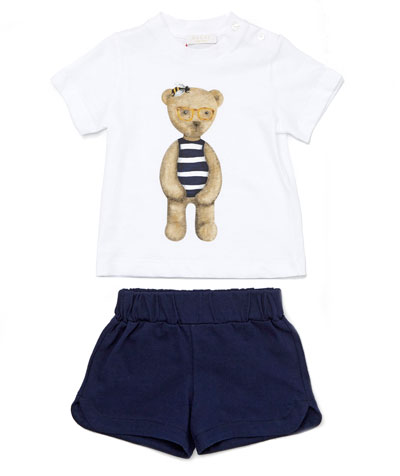 Teddy Bear Tee w/ Shorts, White/Blue, Size 12-36 Months