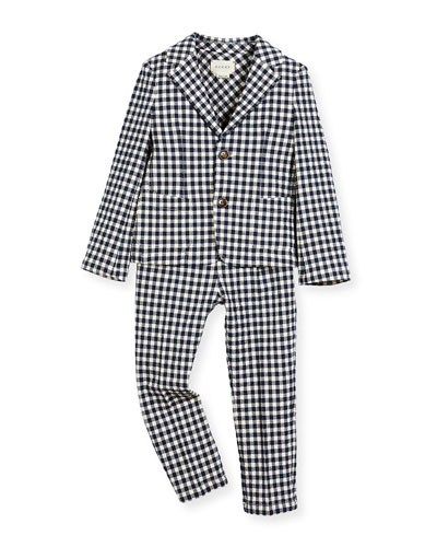 Plaid Seersucker Two-Piece Suit, Navy, Size 12-36 Months