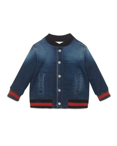 Jersey Denim Bomber Jacket, Blue, Size 18-36 Months